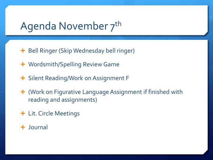 Agenda November 7