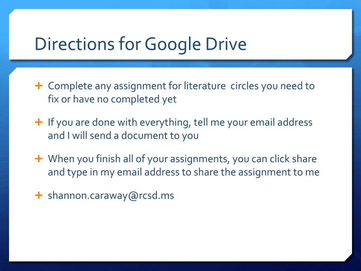 Directions for Google Drive
