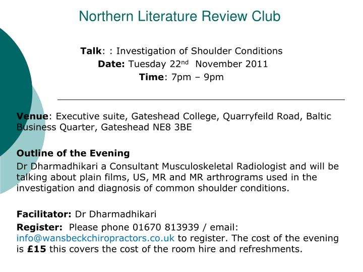 Northern literature review club