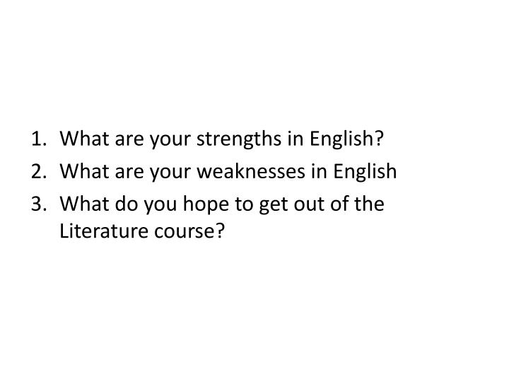 weakness in english