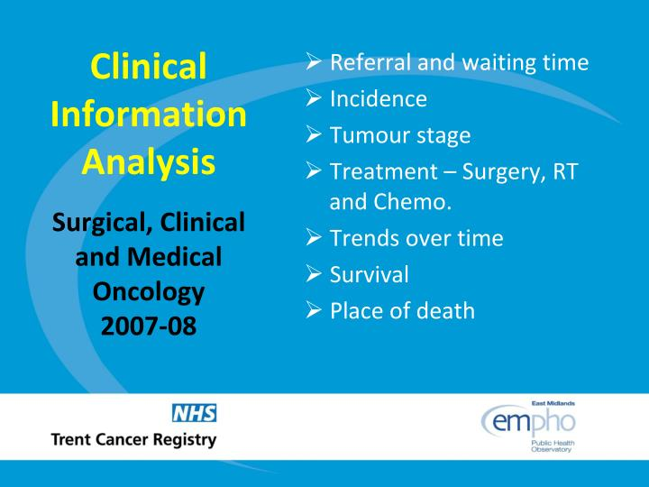 Clinical information analysis surgical clinical and medical oncology 2007 08