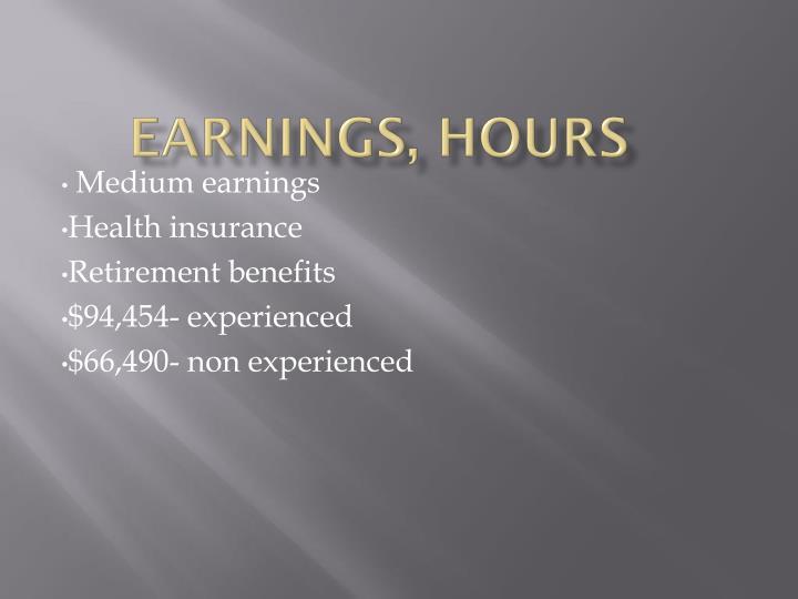 Earnings, Hours