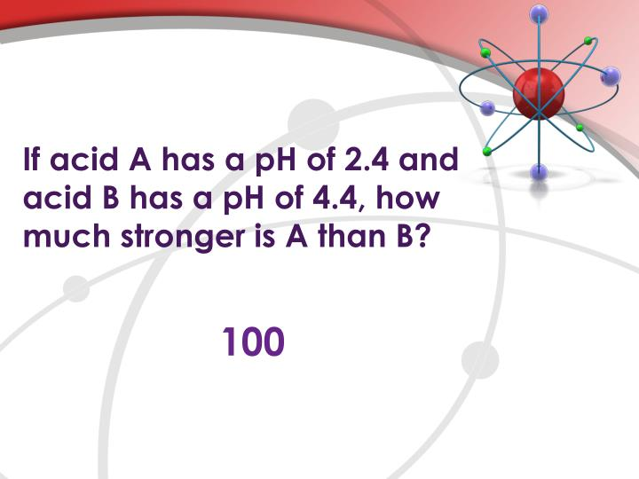 If acid A has a pH of 2.4 and