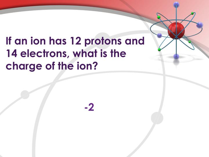 If an ion has 12 protons and