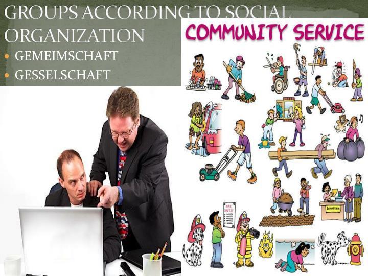 GROUPS ACCORDING TO SOCIAL ORGANIZATION