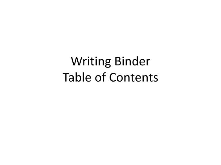 writing binder table of contents n.