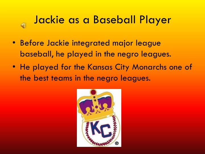 Jackie as a Baseball Player