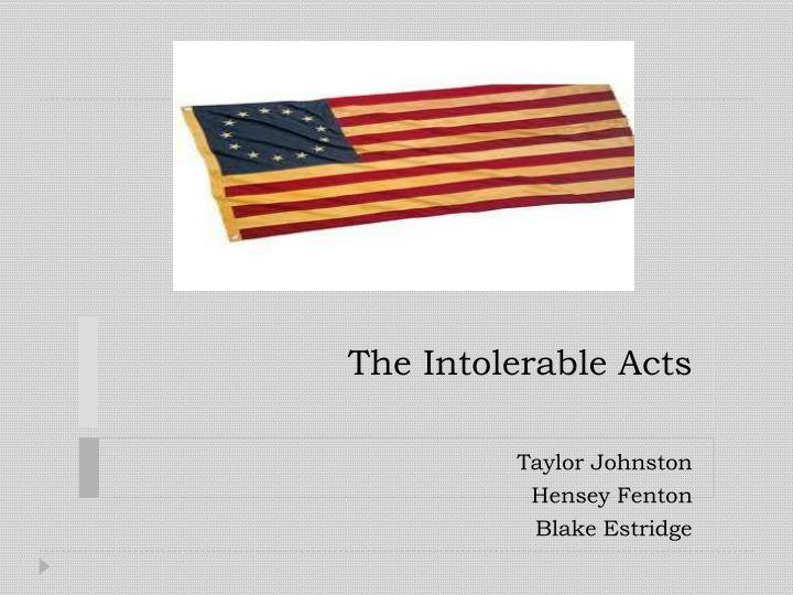 the intolerable acts n.