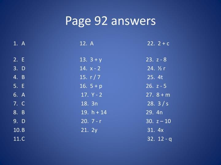 Page 92 answers