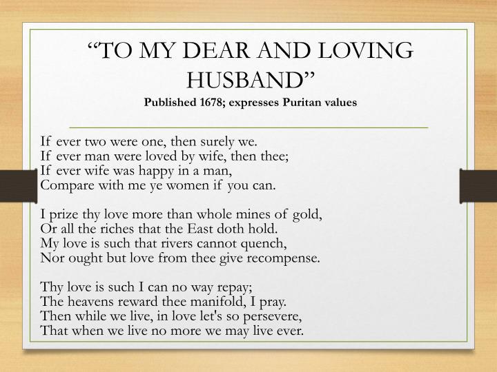 to my dear and loving husband bradstreet analysis