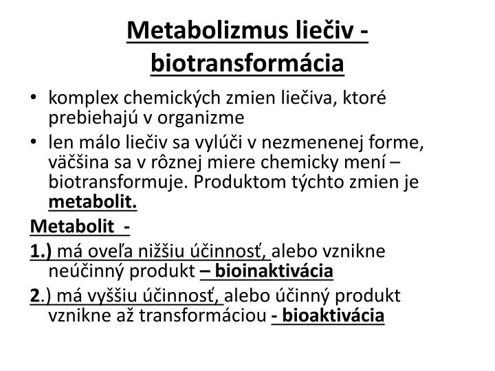 Metabolizmus liečiv -