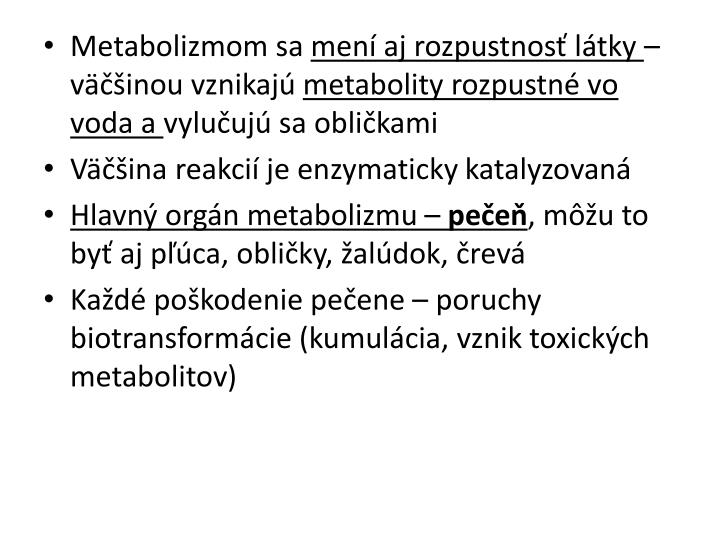 Metabolizmom sa