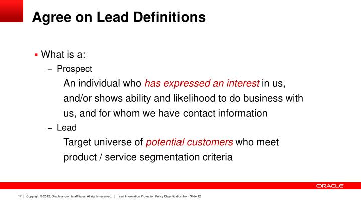 Agree on Lead Definitions