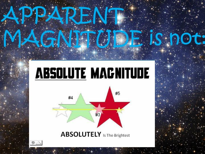 APPARENT                        MAGNITUDE is not: