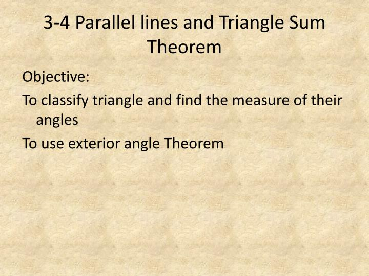 3 4 parallel lines and triangle sum theorem