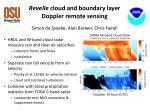 revelle cloud and boundary layer doppler remote sensing simon de szoeke alan brewer chris fairall