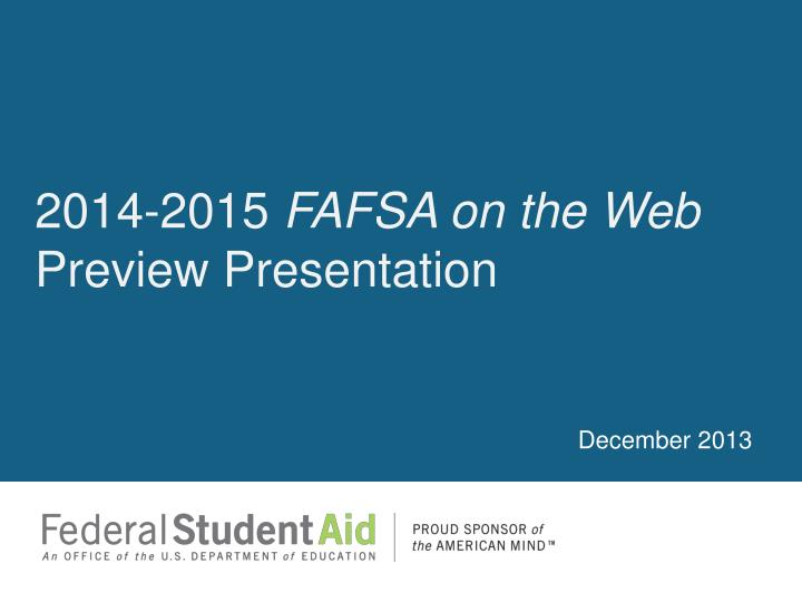 2014 2015 fafsa on the web preview presentation n.