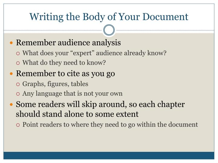 Writing the Body of Your Document