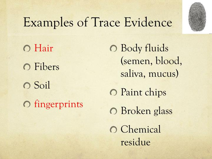 trace evidence used to solve cases Trace evidence used to solve cases trace evidence is based on locard's exchange principle which contends that every contact no matter how slight will leave a trace  the trace is normally caused by objects or substances contacting one another, and leaving a small sample on the contact surfaces.