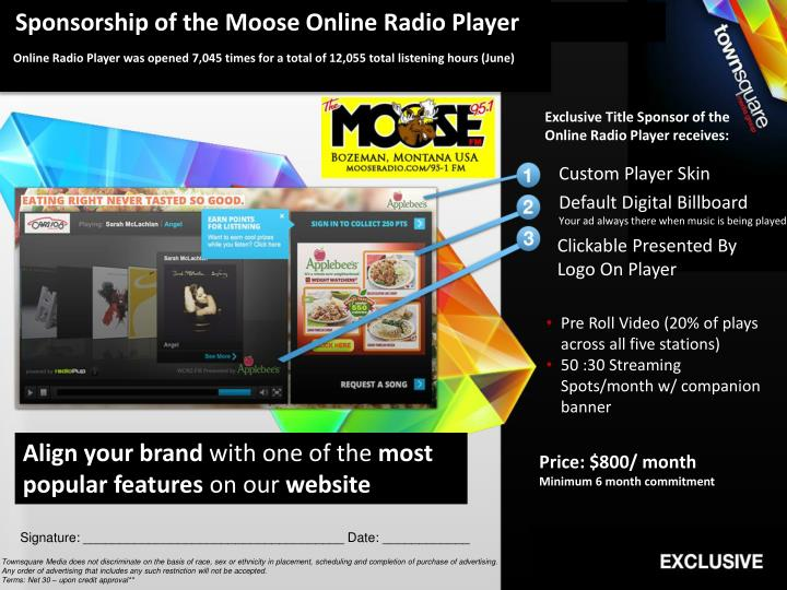 Sponsorship of the Moose Online Radio Player