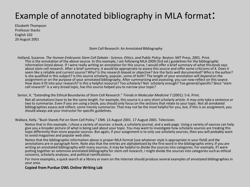 example-of-annotated-bibliography-in-mla-format1-l Owl Purdue Le Page Mla Format Example on case study, writing lab, for citing video, many authors, for website citation, sample pdf, annotated bibliography,