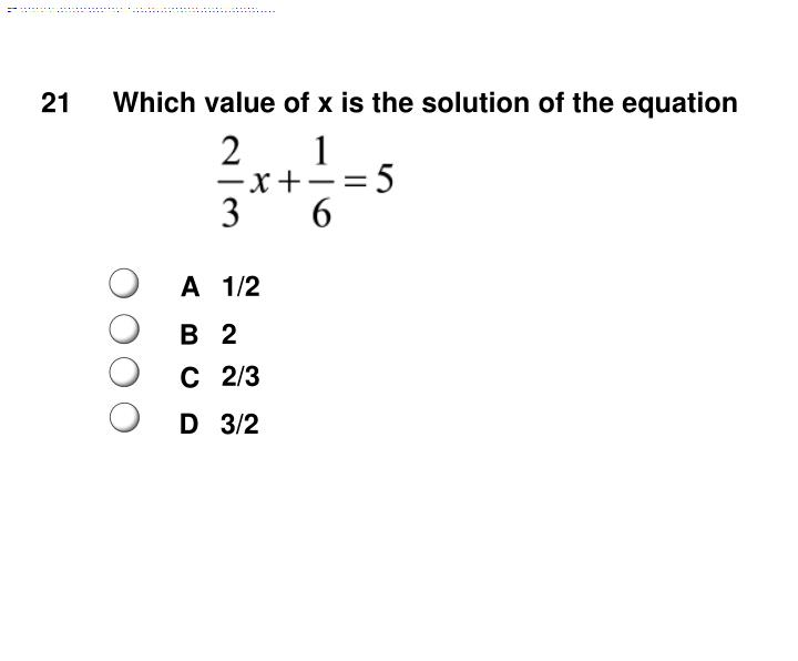 Which value of x is the solution of the equation