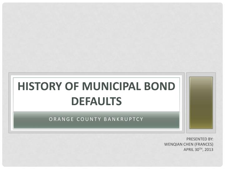 history of municipal bond defaults