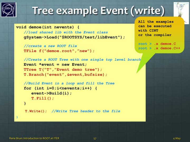 Tree example Event (write)