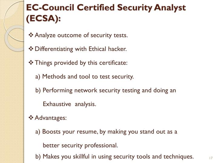 EC-Council Certified Security Analyst (ECSA):