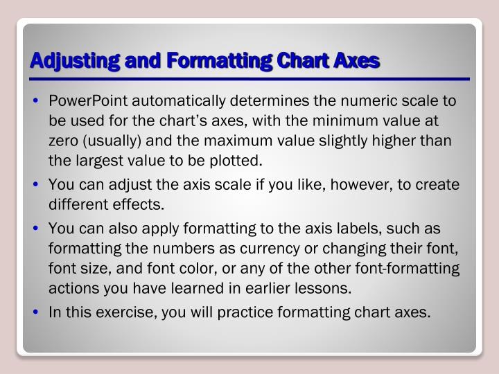Adjusting and Formatting Chart Axes