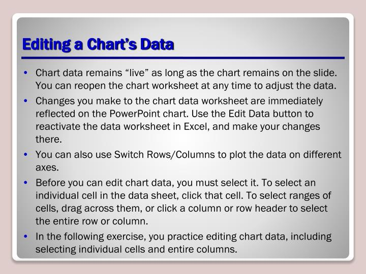 Editing a Chart's Data