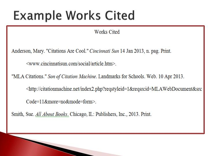Example Works Cited