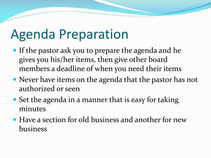 Agenda Preparation