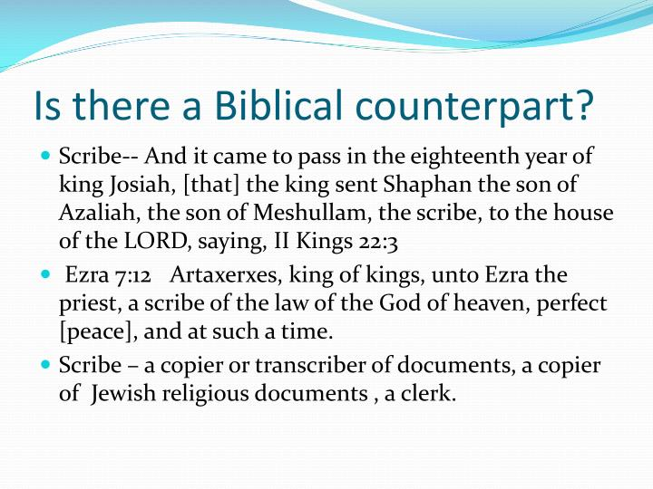 Is there a Biblical counterpart?