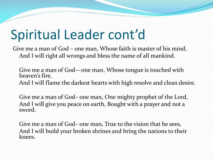 Spiritual Leader cont'd