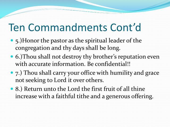 Ten Commandments Cont'd