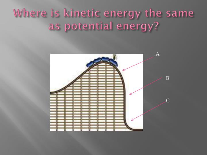 Where is kinetic energy the same as potential energy?