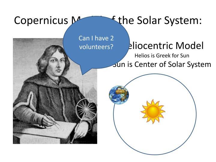 Copernicus Model of the Solar System: