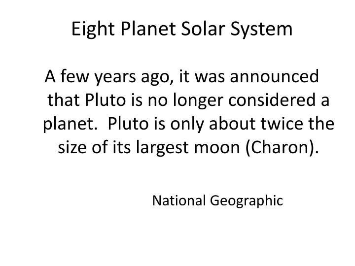 Eight Planet Solar System