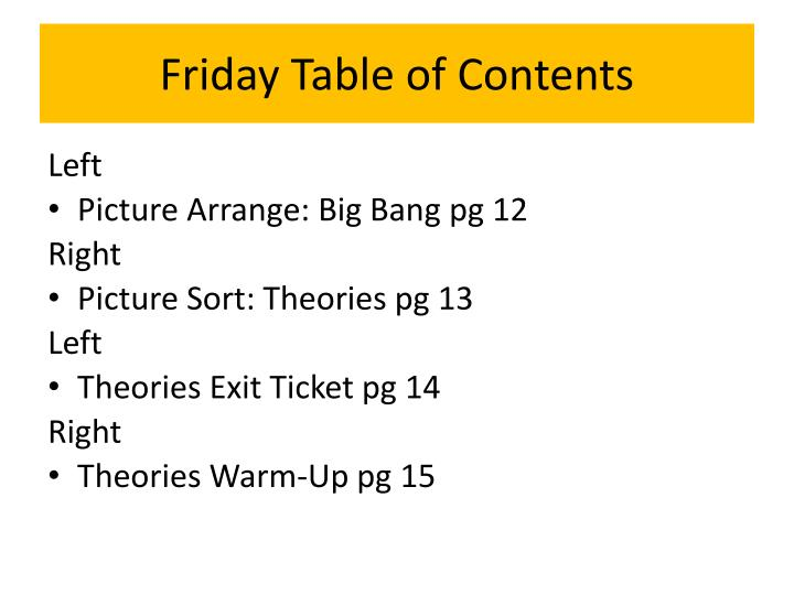 Friday Table of Contents