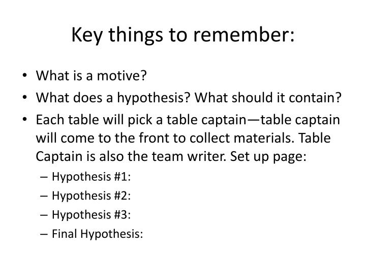 Key things to remember: