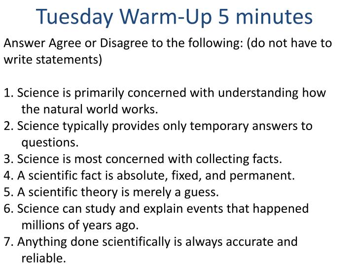 Tuesday Warm-Up 5 minutes