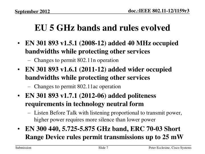 EU 5 GHz bands and rules evolved