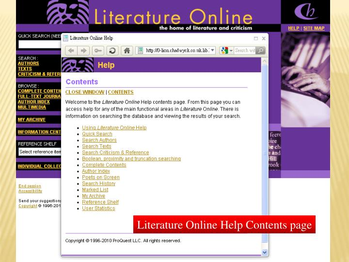 Literature Online Help Contents page