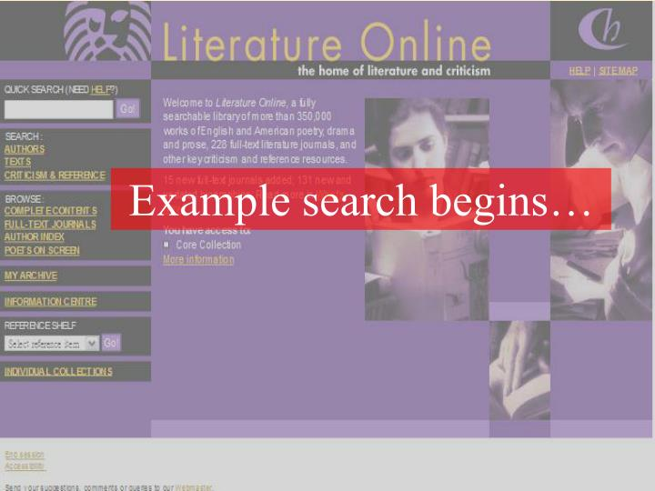 Example search begins…