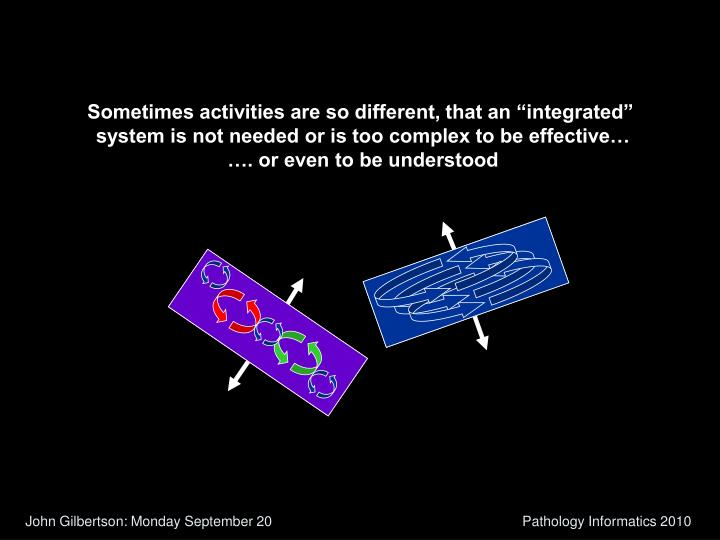 """Sometimes activities are so different, that an """"integrated"""""""