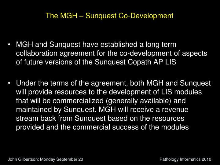 The MGH – Sunquest Co-Development