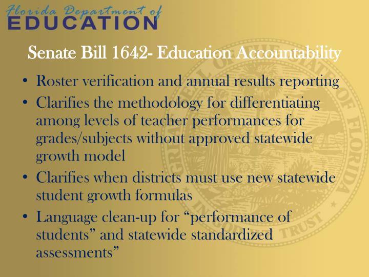 Senate bill 1642 education accountability