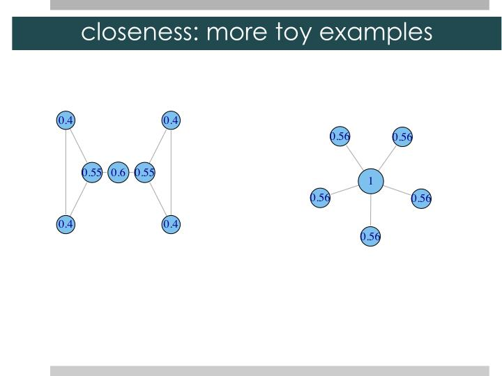 closeness: more toy examples