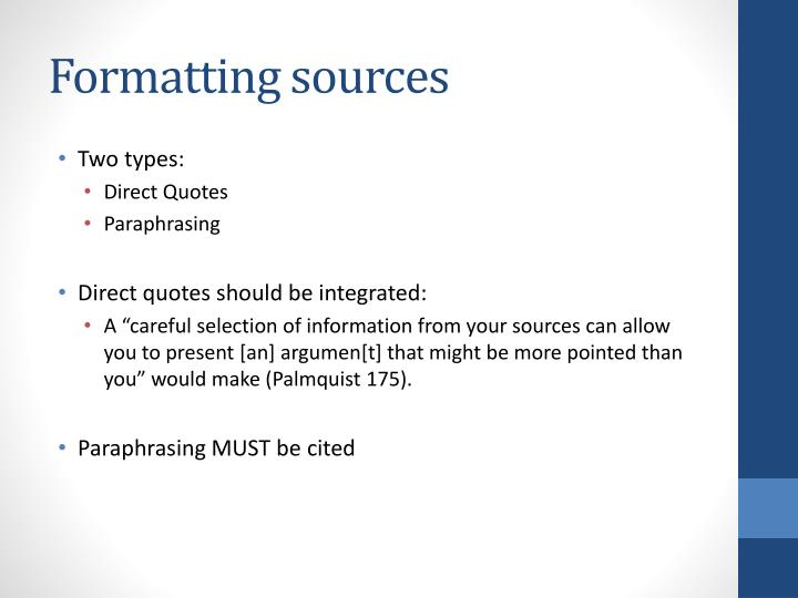 Formatting sources